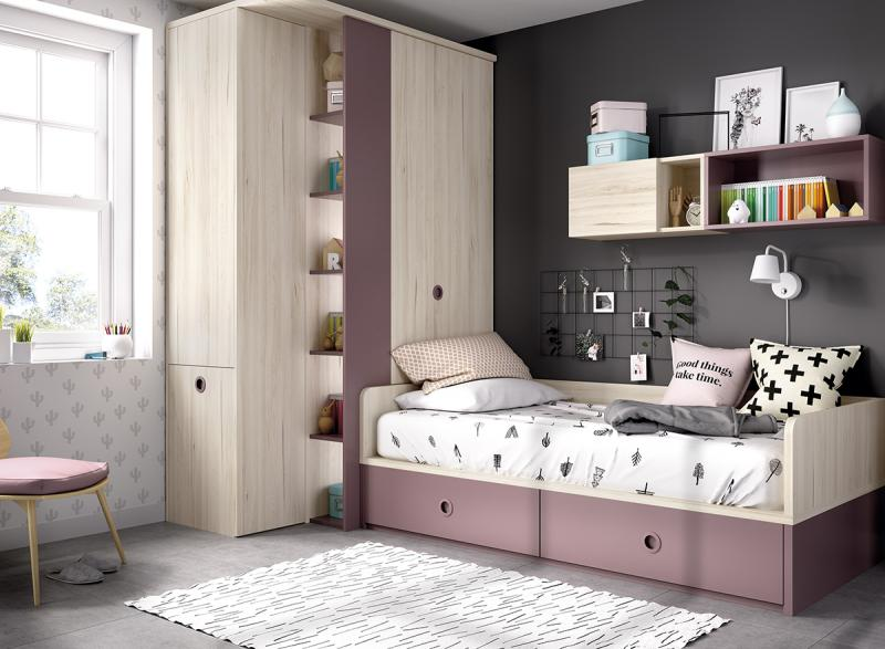 Dormitorio juvenil h216 for Muebles juveniles pamplona